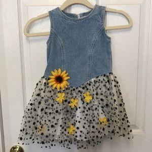 Sara Sara Denim and Tulle Sunflower Dress